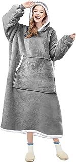 OUBARDE Filt huvtröja, överdimensionerad sherpa filt sweatshirt med huva ficka och ärmar, supermjuk varm bekväm plysch huv...