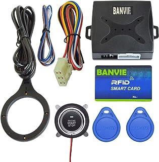 BANVIE Car RFID Push to Engine Start Stop Button (Blue RFID Key)