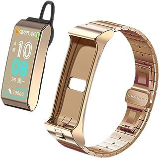 KXHWSH Fitness Tracker/Smartwatch Auriculares Bluetooth 2 en 1 Voz AI Frecuencia Cardíaca Presión Arterial Información de la Aplicación Push para Mujer y Hombre