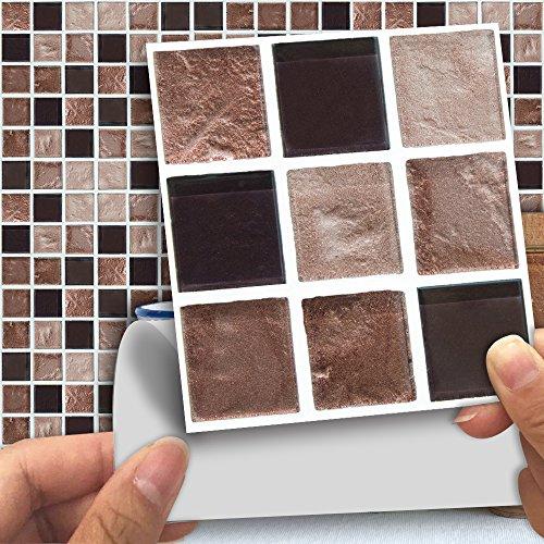 Hiser 18 Piezas Mármol Adhesivos Decorativos Azulejos Pegatinas para Baldosas del Baño/Cocina Estilo Mosaico Mármol - Marroquí Resistente al Agua Pegatina de Pared (Roca marrón,10 x 10 cm)