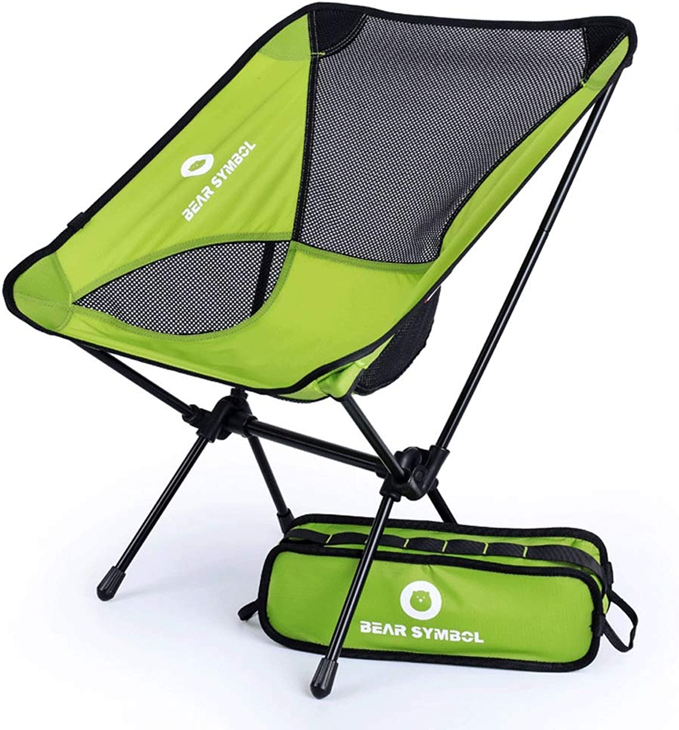 Folding Chair Camping Chair with Mesh Cup Holder Handrail Steel Frame Hanging Bag Portable Camping Picnic Beach Fishing (color   Green)
