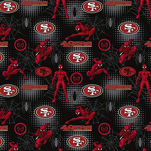NFL Marvel Mash Up Fabric Spiderman San Francisco 49ers Fabric NFL Football in Black 44' Wide 100% Cotton Fabric by The Yard