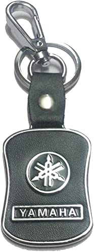 eShop24x7 Black Leather Imported Key Chain for Yamaha Bikes - Key Ring - for Alpha Ray FZ FZS Fazer YBR Crux Bikes