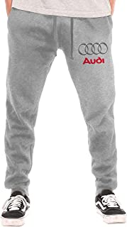 SHENGN Man Personalized Audi Logo Classic with Pockets Workout Sweatpant Black