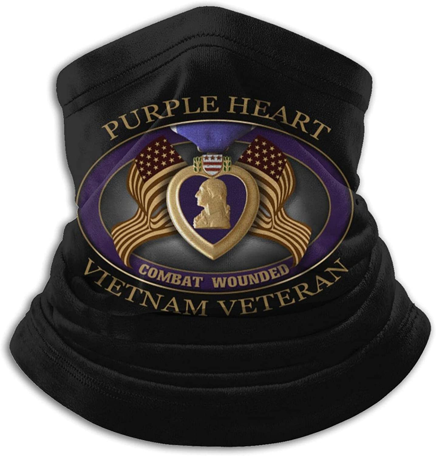 Purple heart us army veteran military medal unisex winter neck gaiter face cover mask, windproof balaclava scarf for fishing, running & hiking