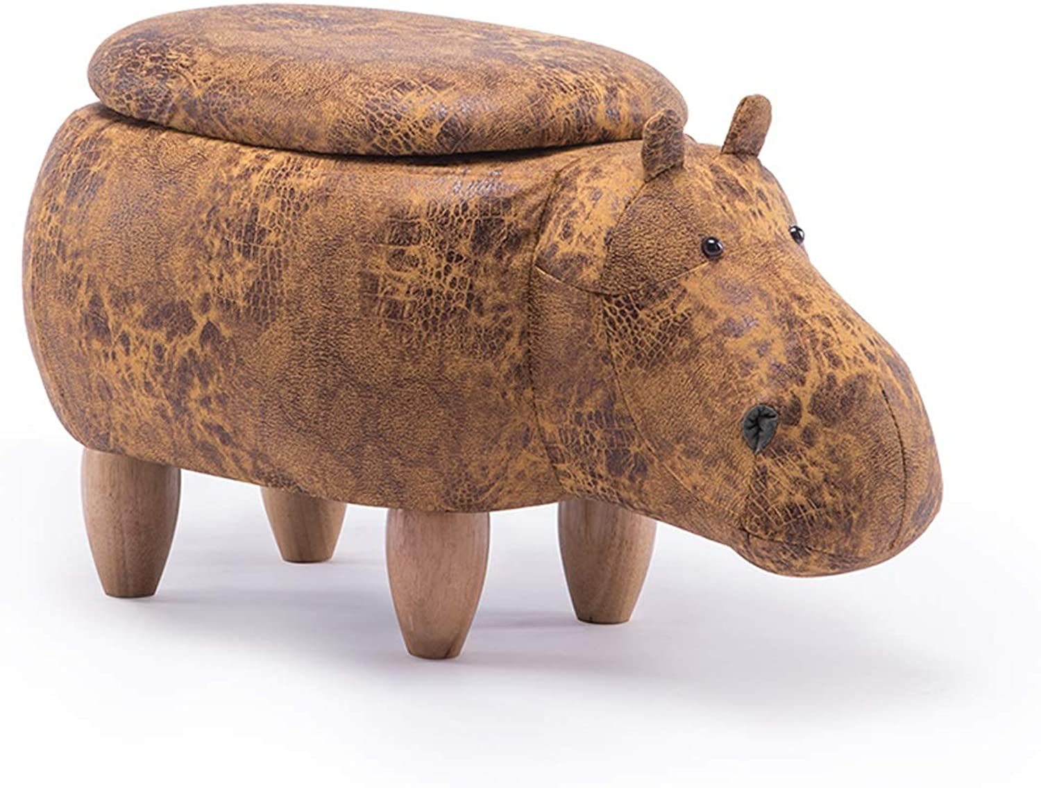 LRW Solid Wooden Footstool Creative Hippo shoes-Changing Stool Sofa Stool Living Room Cartoon Storage Low Stool Test Stool Can Accommodate Footstool 3