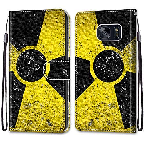 Nadoli Handyhülle Leder für Samsung Galaxy S6,Bunt Bemalt Schwarz Gelb Zeichen Trageschlaufe Kartenfach Magnet Ständer Schutzhülle Brieftasche Ledertasche Tasche Etui