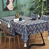 Kuchisity Tischdecke, Leinenoptik Tischtuch Wasserabweisend Drucken Tischdecke, Rechteckige Quaste Tischdecke Abwaschbar Größe Wählbar für Home Küche Dekoration (Blue, 135 * 200cm)