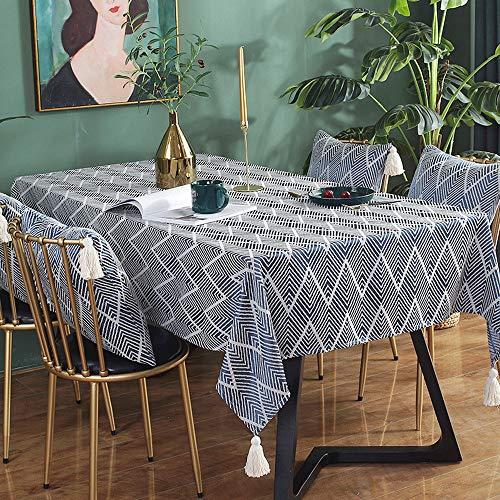 Kuchisity Tischdecke, Leinenoptik Tischtuch Wasserabweisend Drucken Tischdecke, Rechteckige Quaste Tischdecke Abwaschbar Größe Wählbar für Home Küche Dekoration (Blue, 135 * 180cm)