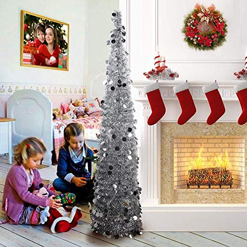 PartyTalk 5ft Pop Up Christmas Tree with Stand, Silver Tinsel Collapsible Artificial Christmas Tree for Holiday Christmas Home Decorations