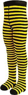VEGATEKSA Baby und Kinderstrumpfhose für Mädchen und Jungen mit Streifen in Schwarz/Gelb aus Gekämmter Baumwolle, MADE IN EU, Verstellbare Taille, Tunel Gummi
