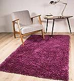 The Rug House Tapis de Salon épais agréable Doux Ontario Prune Violet, Nettoyage Facile 80x150cm (2' x 3'7')