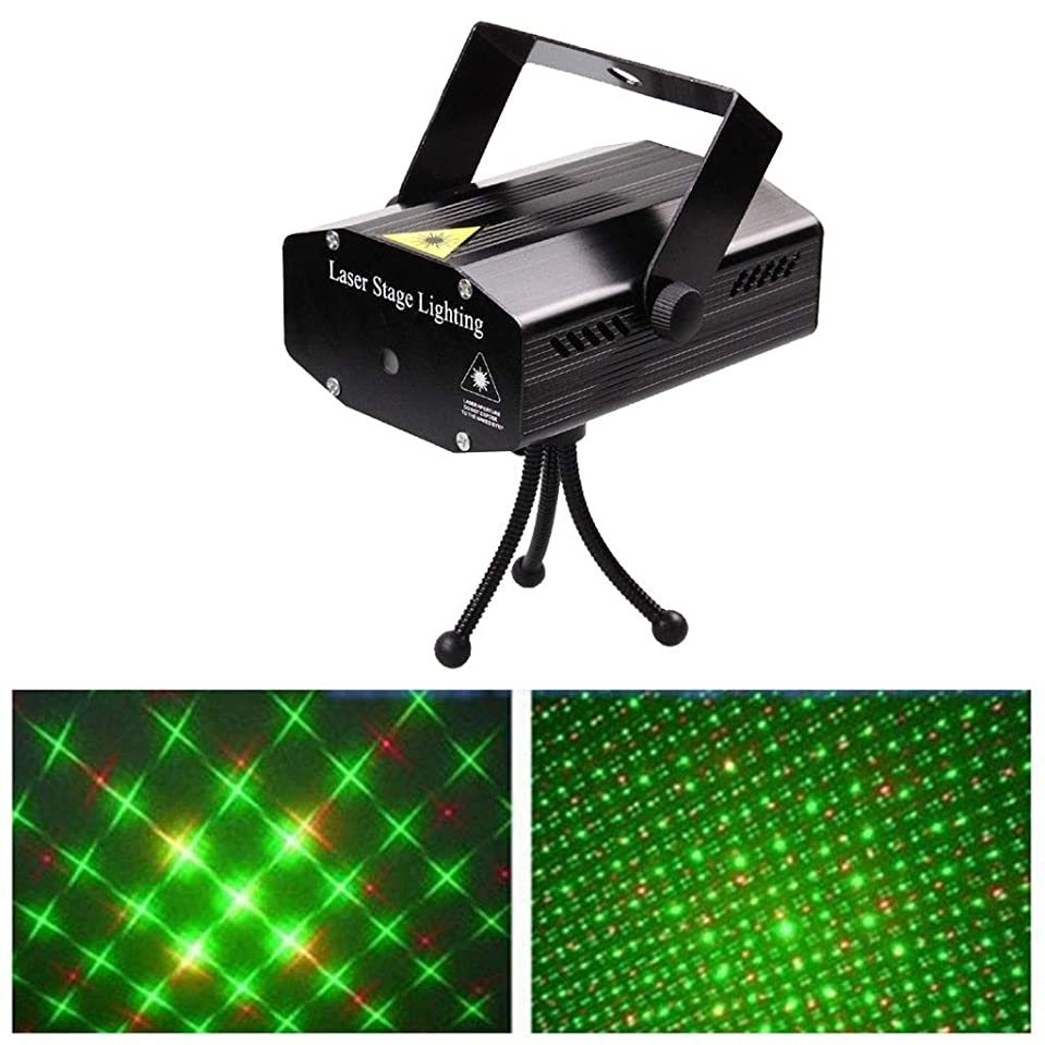 億メイエラ優遇ホームステージパーティーKTVダンスクリスマスの飾り用のミニLEDステージライト赤と緑のパターン音声コントロールディスコライト (Color : Black, Size : 130x115x52mm)