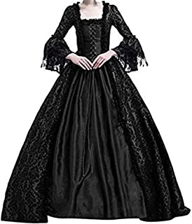 Aniywn Retro Medieval Party Princess Dress Ball Gown Gothic Costume Renaissance Cosplay Floor Length Dress
