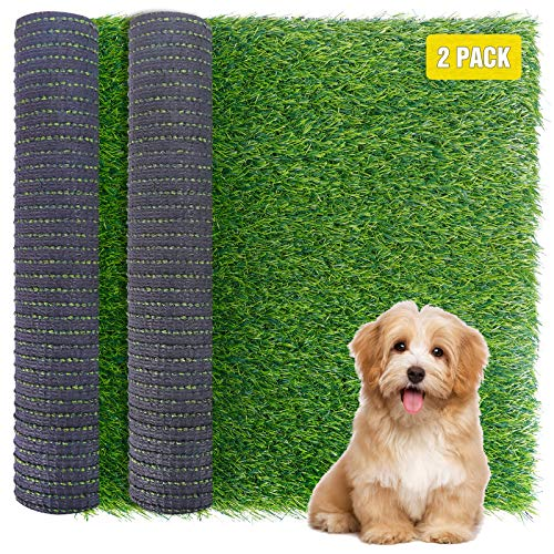 FUNARTY 2pcs Dog Grass Pee Pads, Synthetic Artificial Turf for Pet Training for Dog Potty Systems Replacement Grass Mats - Indoor/Outdoor Garden Lawn Patio Balcony (14 in x 18 in)