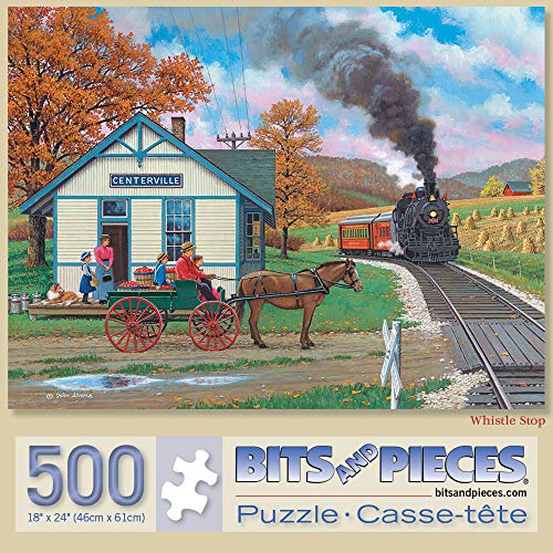 Bits and Pieces - Whistle Stop 500 Piece Jigsaw Puzzles for Adults - Each Puzzle Measures 18' X 24' - 500 pc Jigsaws by Artist John Sloane