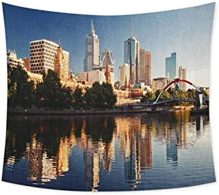 jecycleus City Hippie Tapestry Wall Hanging Idyllic View of Yarra River Melbourne Australia Architecture Tourism Wall Tapestry Bohemian Decor W91 x L60 Inch Dark Blue Ivory Dark Green