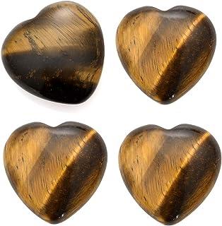 Sunligoo Healing Crystal Tiger Eye Stone Heart Love Worry Stones Set Pocket Palm Thumb Gemstones Chakra Reiki Balancing -1...