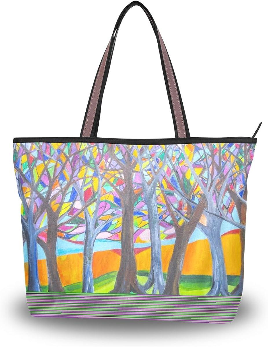 JSTEL Women Large Tote Top Handle Shoulder Bags Colorful Tree Patern Ladies Handbag