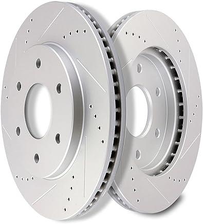 SCITOO Brakes Rotors 2pcs Front Drilled Slotted Discs Brake Rotors Brakes Kit fit 2004 2005 Infiniti QX56,2005 Nissan Armada,2004 2005 Nissan Titan