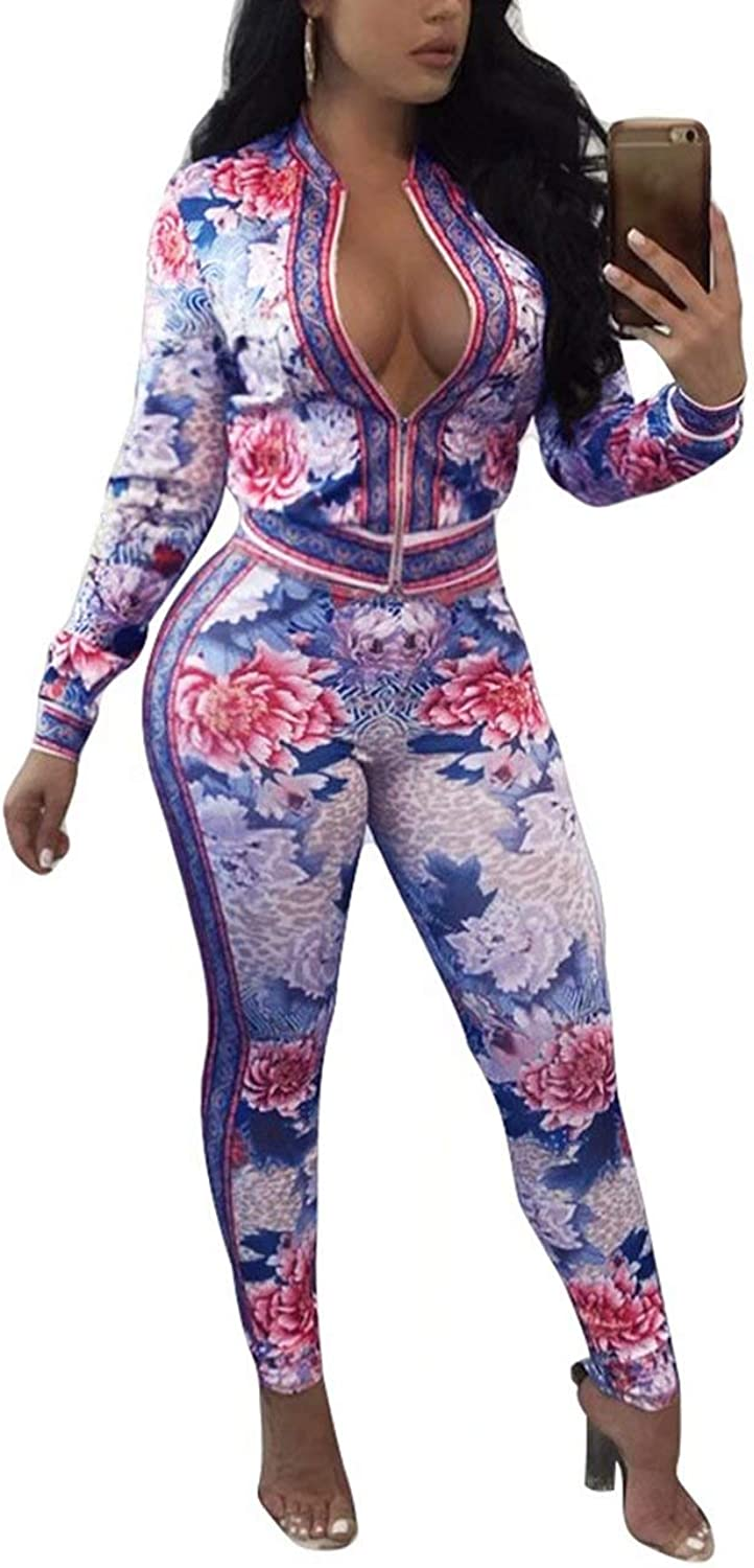 Adogirl Women Floral Two Piece Outfits Bodycon Tracksuit Crop Jacket and Pants Jumpsuit Sweatsuits