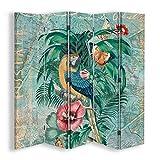 carowall CAROWALL.COM Foto Biombo Corcho 5 Paneles Bilateral Zona Tropical Verde 180x175 cm