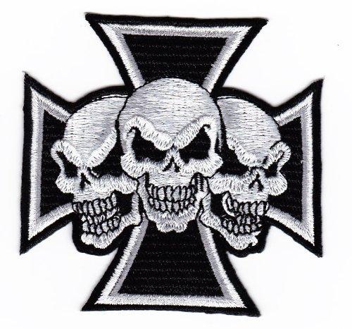 Aufnäher Skull Tattoo Biker Kreuz Chopper eisernes embroidered iron on patch
