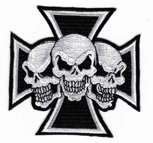 Aufnäher Skull Tattoo Biker Kreuz Chopper eisernes embroidered iron on patch