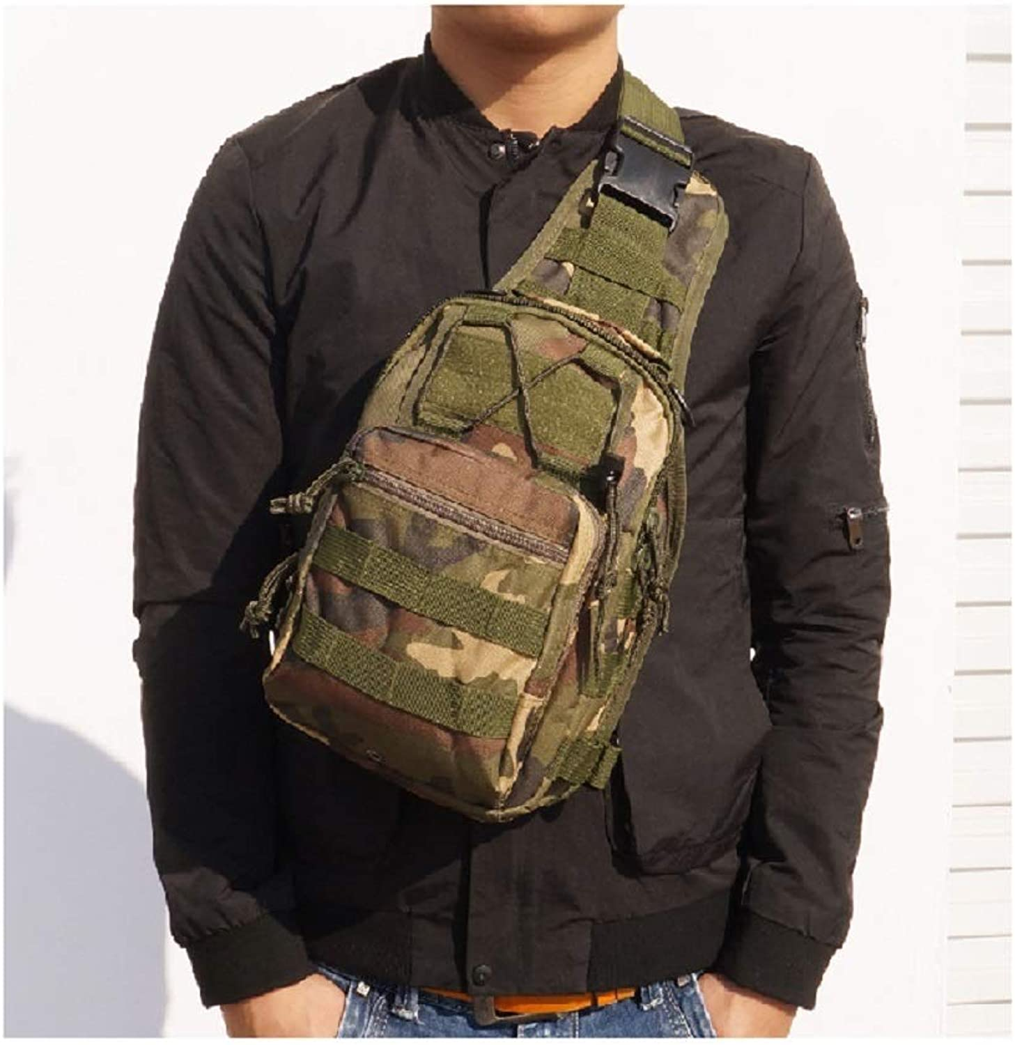 Canvas Riding Bag Tactical Camouflage Field Sports Small Shoulder Diagonal Outdoor Tactical Chest Bag,Outdoor (color   E, Size   28  18  13cm 11.0  7.1  5.1in)