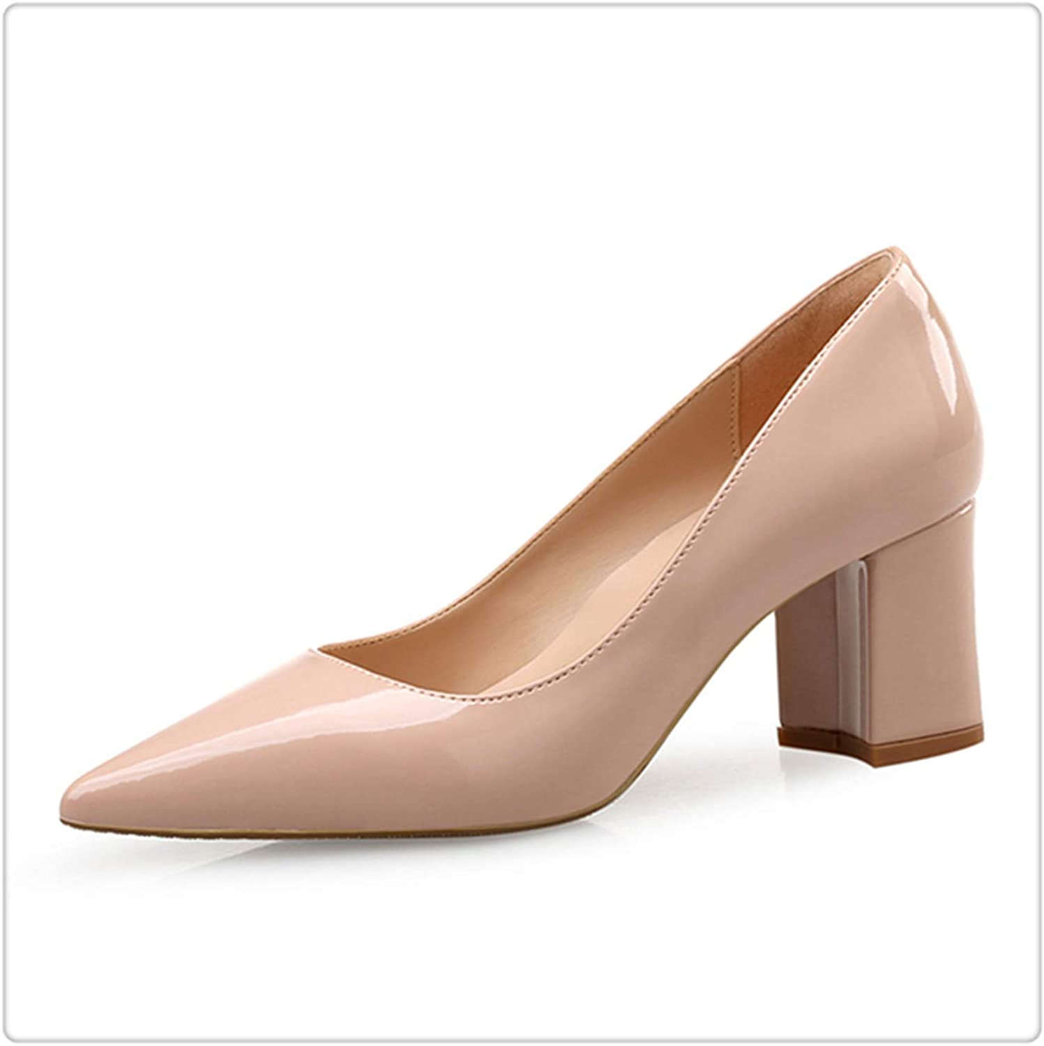 HANGGE& High Heels shoes Women Pumps Patent Leather Spring Single Woman Dress shoes Spring Thick Heels Pointed Toe Leopard Female Pumps Pink PU 9.5