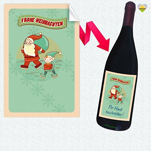 1 Flaschen-Etikett | Winter Illustration Frame – Motiv: Frohe Weihnachten Weihnachtsmann & Wichtel | Rechteckig | 8 x 12 cm | FE0202-19 | Blanko zum Selbstbeschriften | inkl. Verklebe-Anleitung | CuteLove & Head-Beat