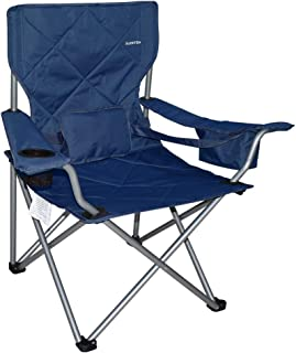 Suzeten Oversized Folding Camping Chairs Quad Arm Chair with Heavy Duty Lumbar Back Support, Cooler Cup Holder, Back Mesh Pocket, Shoulder Strap Carrying Bag, Navy Blue