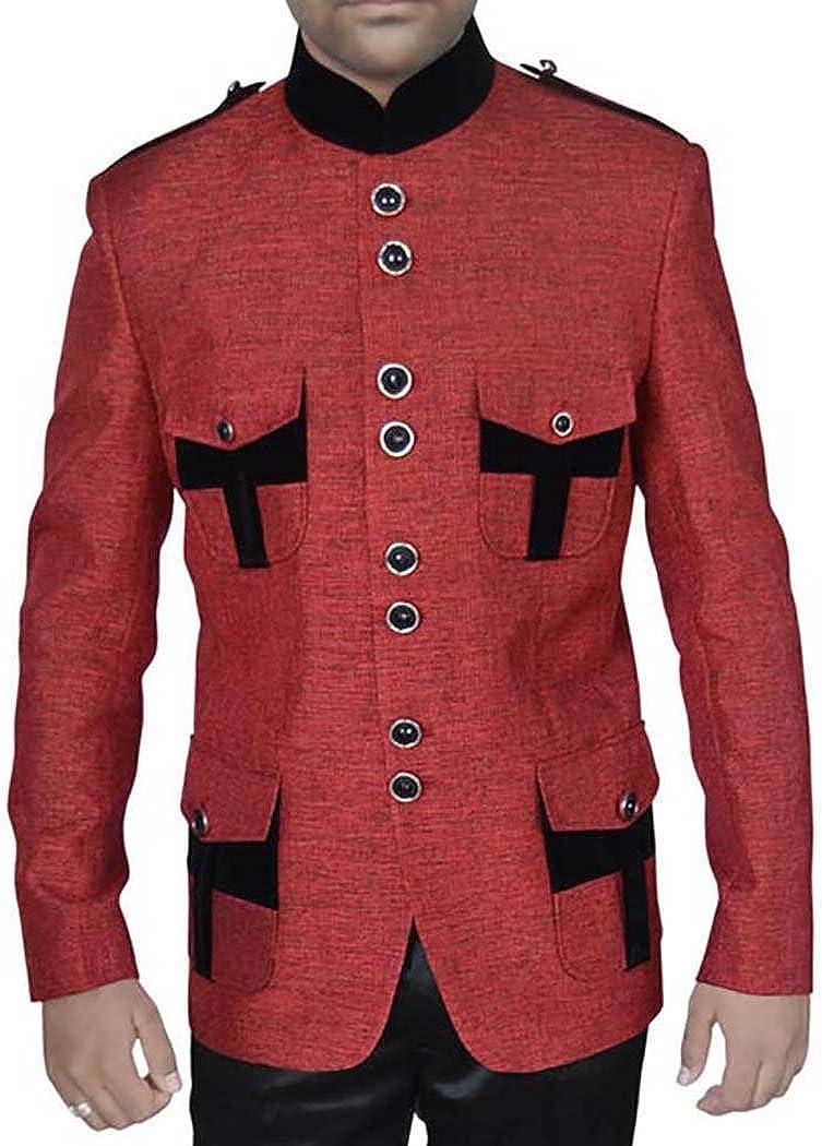 INMONARCH Mens Red Jute 2 Pc Jodhpuri Suit with Epaulettes JO0298