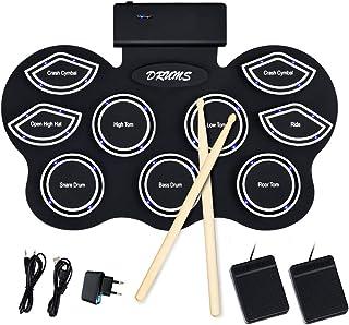 COSTWAY Enrolle Drum Pad de Silicona con LED Batería Electrónica de Sobremesa para Niños con Bluetooth Pedales y Baquetas