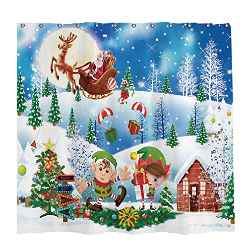 Allenjoy 72x72 inch Winter Christmas Shower Curtain Set with 12 Hooks Let's Elfed Up Wonderland Landscape Santa Bathroom Curtain Durable Waterproof Fabric Bathtub Sets Home Decor