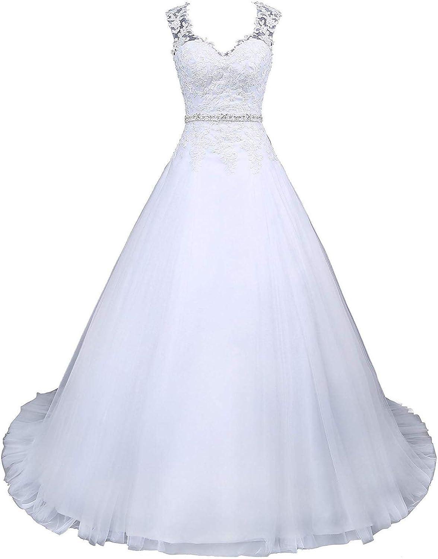 Voteron Women's Vintage Beaded Lace Appliques Wedding Dress Bride Gown