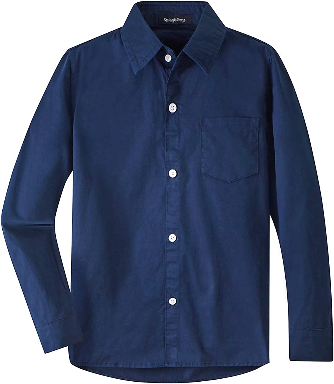 Spring&Gege Boys' Long Sleeve Dress Shirts Formal Uniform Woven Solid