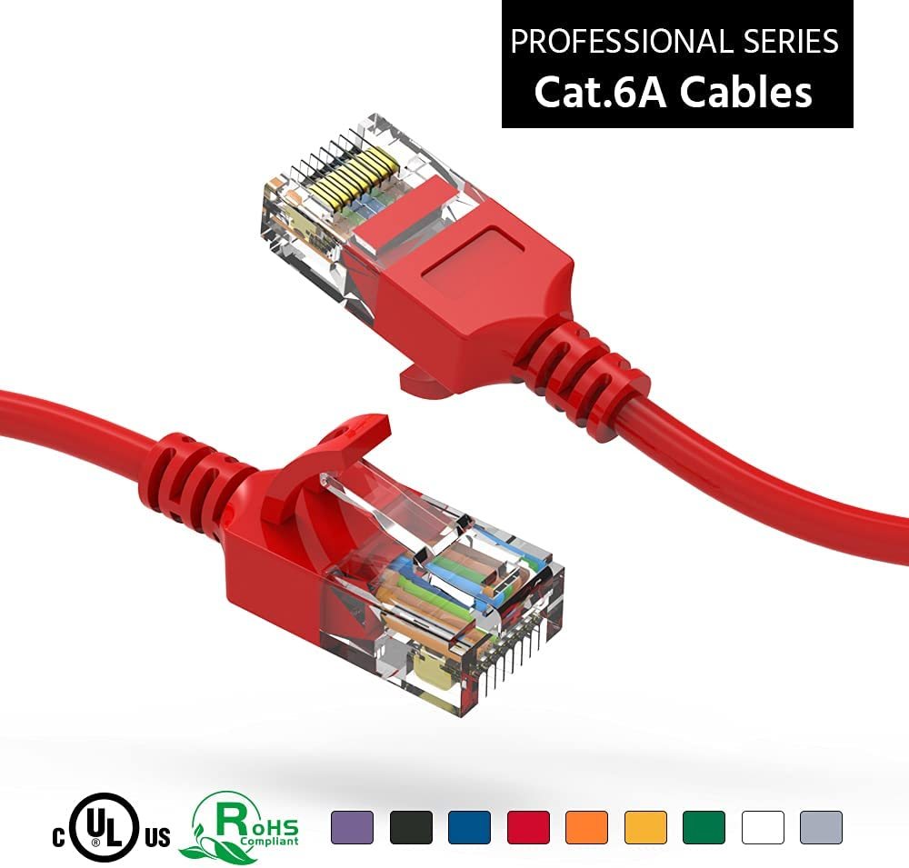 ACCL 30Ft Cat6A UTP Slim Ethernet Red Cable Network Booted Dedication San Jose Mall 28AWG