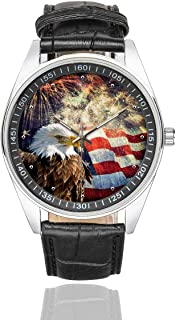 Firework Musical Notes Men's Casual Black Leather Strap Wrist Watch