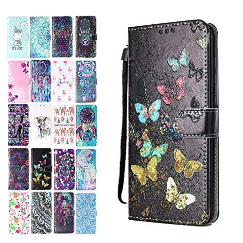 Ancase Lederhülle kompatibel für Samsung Galaxy A50 Hülle Bunter Schmetterling Muster Handyhülle Flip Hülle Cover Schutzhülle mit Kartenfach Ledertasche für Mädchen Damen