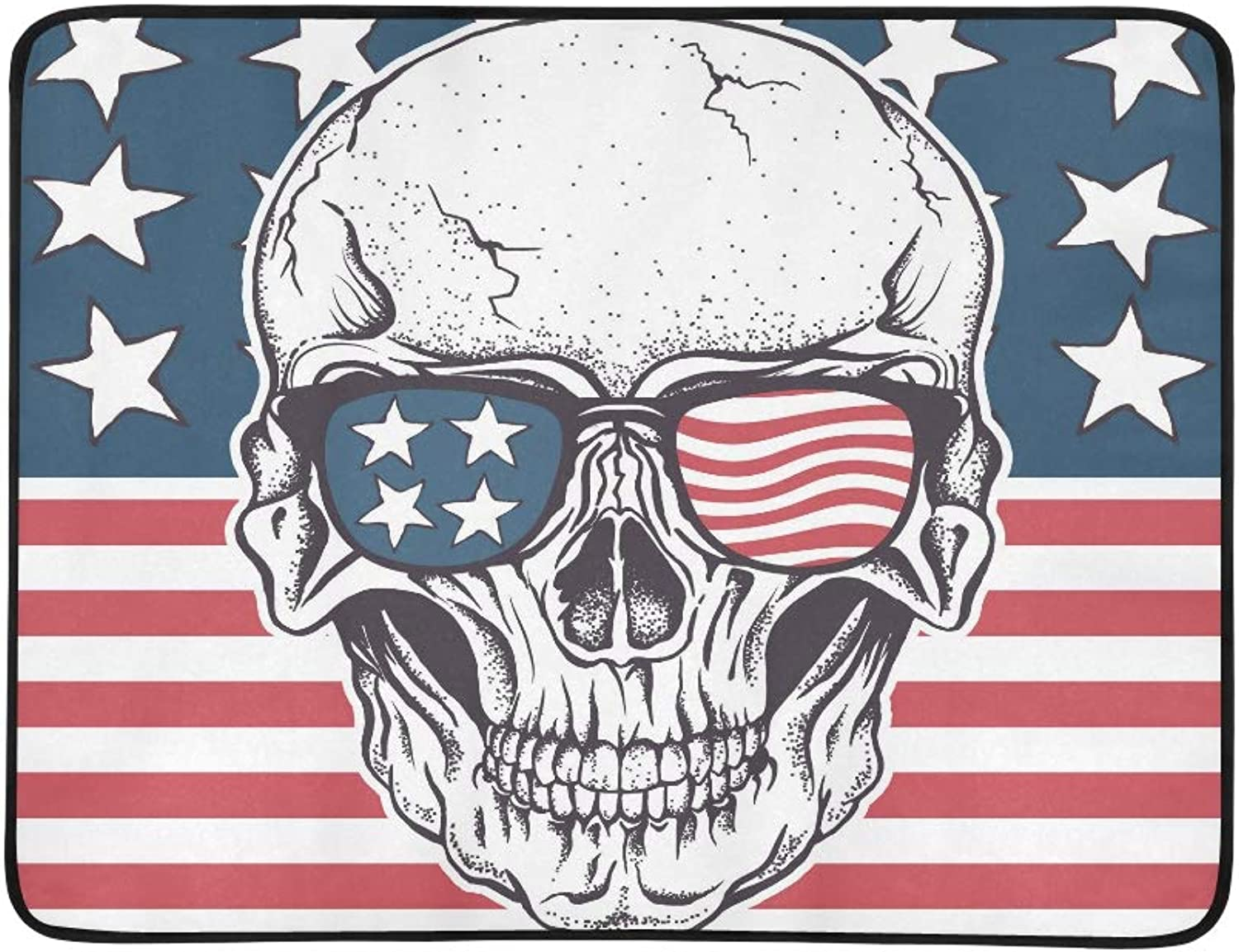 American Skull in Sunglasses On USA Flag Pattern Portable and Foldable Blanket Mat 60x78 Inch Handy Mat for Camping Picnic Beach Indoor Outdoor Travel