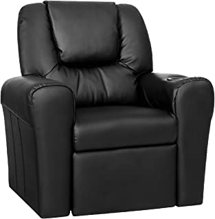 Keezi Kids Recliner Chair Black PU Leather Sofa Lounge Couch Children Armchair