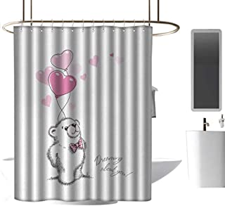coolteey Shower Curtains with Trees on Them Bear,Sweet Little Teddy Bear Keeping Pink Heart Shaped Balloons Romantic Quote,Pale Pink Black White,W72 x L96,Shower Curtain for Kids