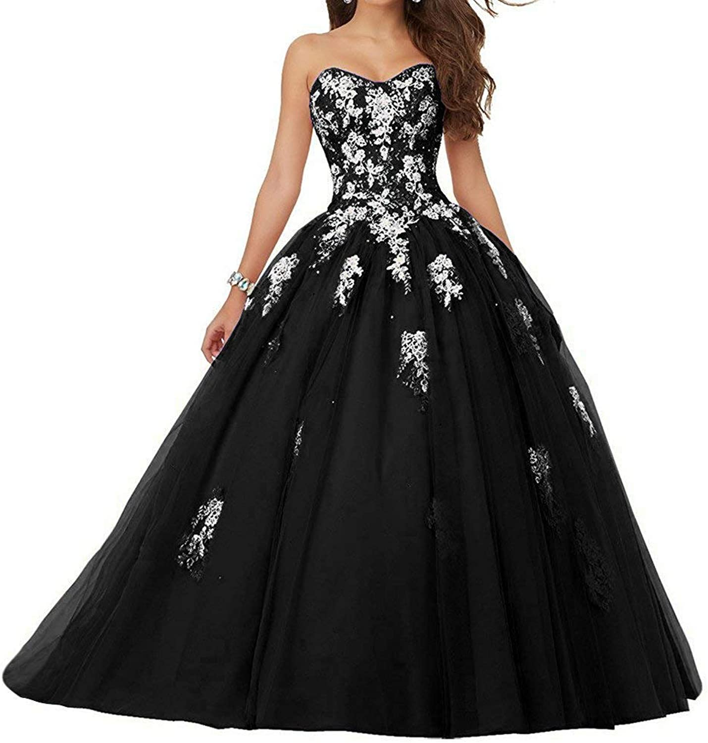 Voteron Women's Beaded Lace Appliques Prom Dress Ball Gown Sweet 16 Quinceanera Dresses