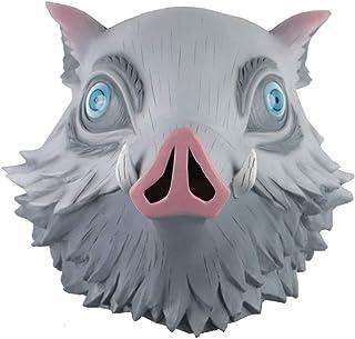 Hashibira Inosuke Máscara de Halloween Masquerade Cerdo Máscara Anime Latex Headgear Prop Accesorio Gris