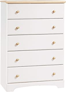 South Shore 5-Drawer Dresser - Pure White/Natural Maple