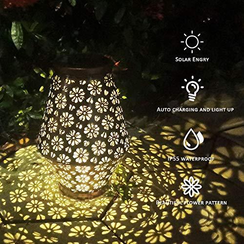 Solar Lantern Lights Outdoor Chandelier Hanging Solar Lanterns Lamp for Garden Lantern with Handle Retro Metal Waterproof LED Table Lamp for Porch Lawn Garden Wall Patio Backyard Courtyard Decor