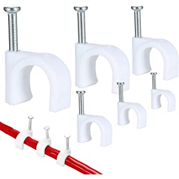 C/âble Rond Clips Acier Ongles Clip de C/âble,Cable Mur Attaches C/âbles pour Organiseur Electrique Fil C/âble Clips,C/âble Ethernet Coaxial Bureau et Maison Gestion de C/âbles avec Clou 6mm//8mm