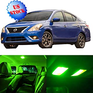 SCITOO LED Interior Lights 8pcs Green Package Kit Accessories Replacement for 2007-2012 Nissan Versa