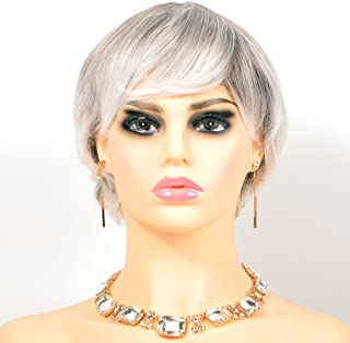Grey And silver Natural Short Wavy Costume Wigs For Lady Womens For OL Lady Wig synthetic short wigs for cancer patients